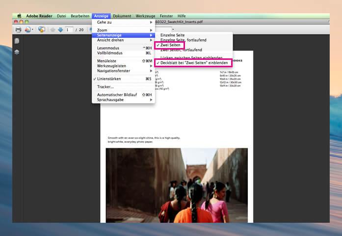 Adobe Reader Einstellungen für PDF Buchdruck
