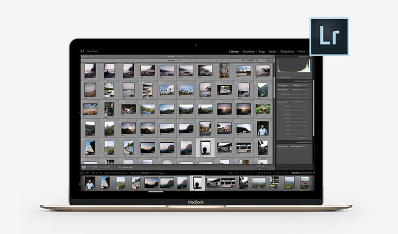 Adobe Lightroom op een MacBook Air