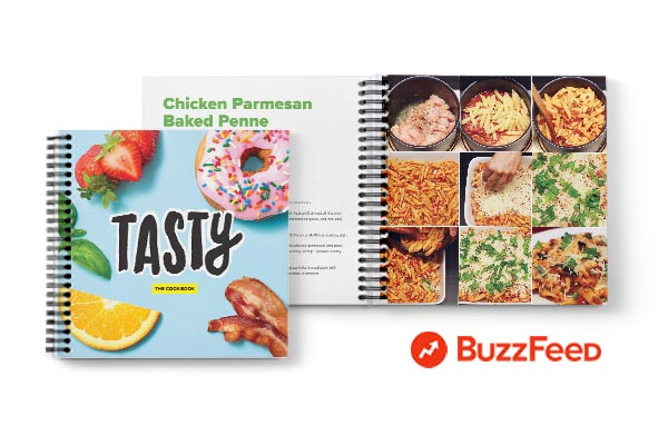 Buzzfeed's Tasty cookbooks are printed in a custom format