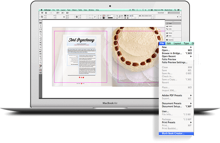 Adobe InDesign e InDesign CC en un MacBook Air
